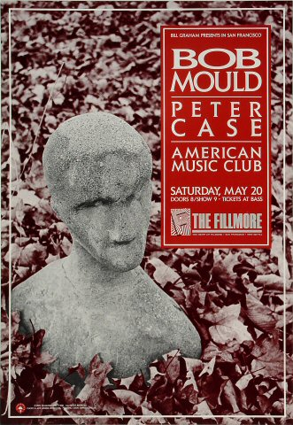 "Bob Mould Poster from Fillmore Auditorium on 20 May 89: 13 1/4"" x 19 1/4"""