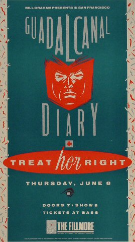 "Guadalcanal Diary Poster from Fillmore Auditorium on 08 Jun 89: 10 1/2"" x 18 1/2"""