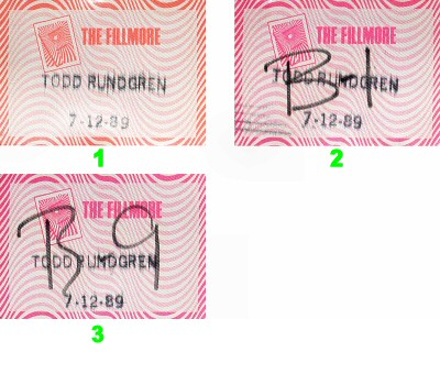 Todd Rundgren Backstage Pass from Fillmore Auditorium on 12 Jul 89: Pass 2