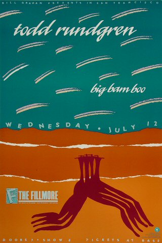 "Todd Rundgren Poster from Fillmore Auditorium on 12 Jul 89: 13"" x 19 1/2"""