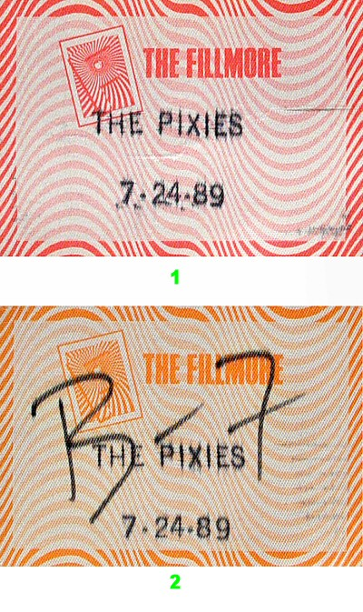 Pixies Backstage Pass from Fillmore Auditorium on 24 Jul 89: Pass 1