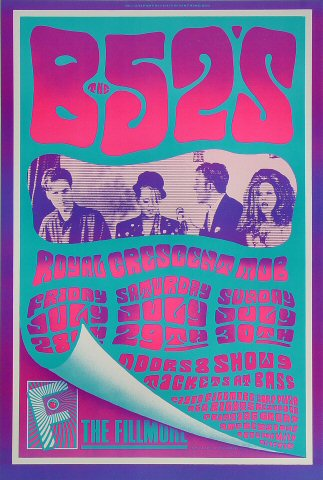 "The B-52's Poster from Fillmore Auditorium on 28 Jul 89: 13"" x 19 1/2"""