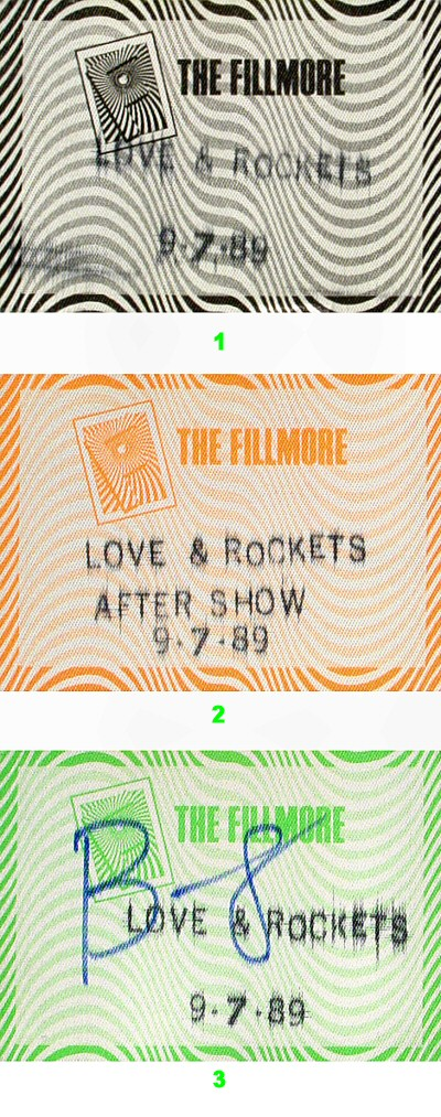 Love and Rockets Backstage Pass from Fillmore Auditorium on 07 Sep 89: Pass 2