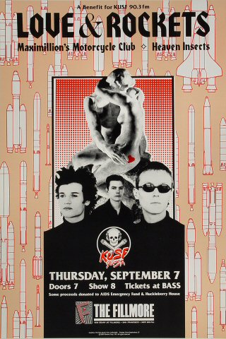 "Love and Rockets Poster from Fillmore Auditorium on 07 Sep 89: 13"" x 19 1/2"""
