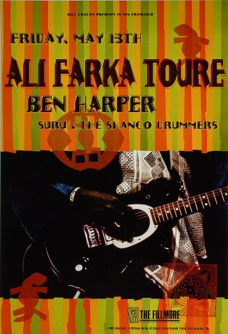 "Ali Farka Toure Poster from Fillmore Auditorium on 13 May 94: 13"" x 19"""