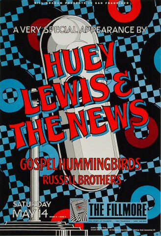 """Huey Lewis & the News Poster from Fillmore Auditorium on 14 May 94: 13"""" x 19"""""""
