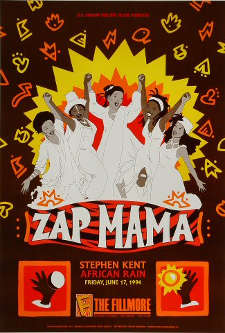 "Zap Mama Poster from Fillmore Auditorium on 17 Jun 94: 13"" x 19"""