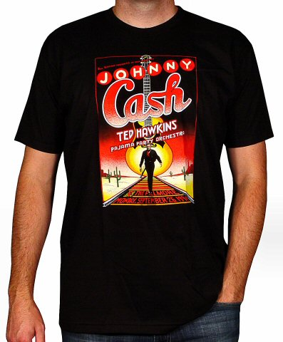 Johnny Cash Men's Retro T-Shirt from Fillmore Auditorium on 26 Sep 94: Medium