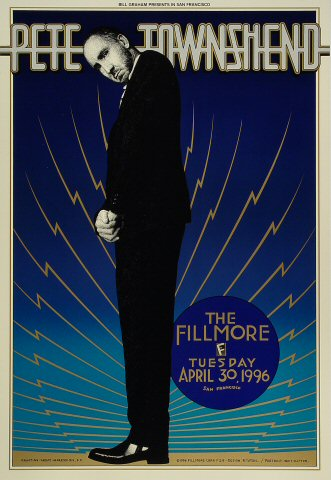 Pete Townshend Poster from Fillmore Auditorium on 30 Apr 96: 13&quot; x 19&quot;
