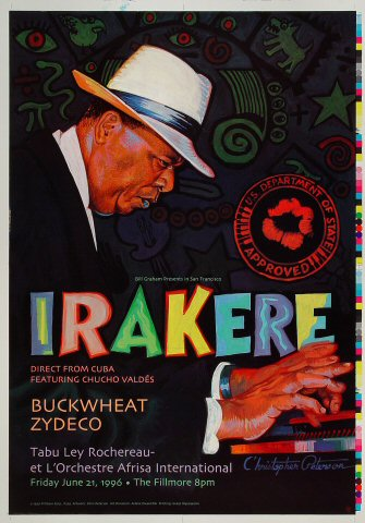 "Irakere Proof from Fillmore Auditorium on 21 Jun 96: 14"" x 20"""