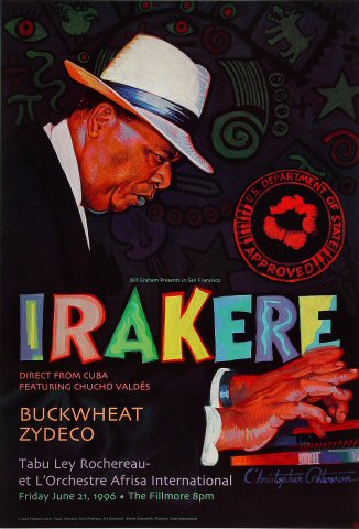 "Irakere Poster from Fillmore Auditorium on 21 Jun 96: 13"" x 19"""