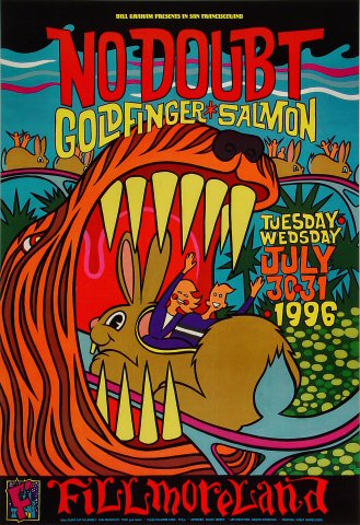 "No Doubt Poster from Fillmore Auditorium on 30 Jul 96: 13"" x 19"""