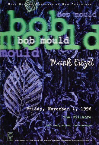 "Bob Mould Poster from Fillmore Auditorium on 01 Nov 96: 13"" x 19"""
