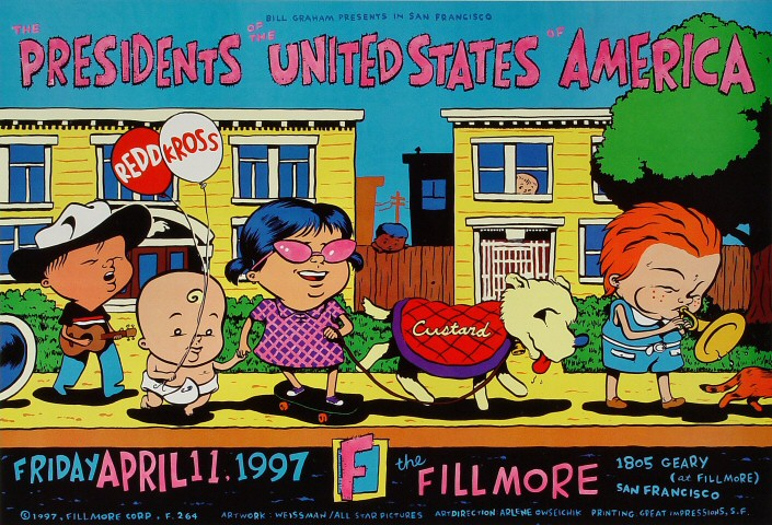 "Presidents of the United States of America Poster from Fillmore Auditorium on 11 Apr 97: 13"" x 19"""