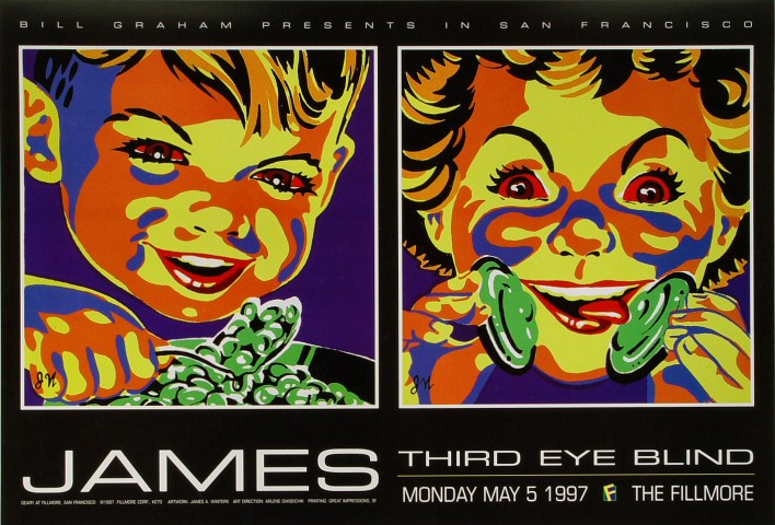 """James Poster from Fillmore Auditorium on 05 May 97: 13"""" x 19"""""""