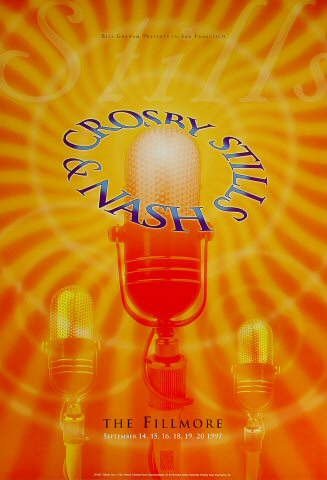 "Crosby, Stills & Nash Poster from Fillmore Auditorium on 16 Sep 97: 13"" x 19"""