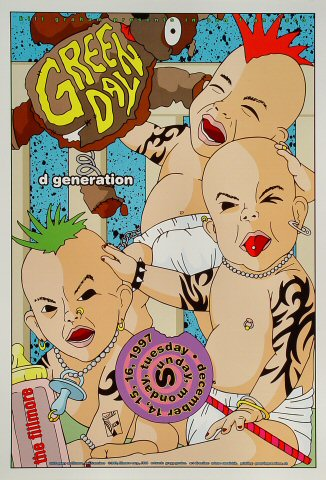 "Green Day Poster from Fillmore Auditorium on 14 Dec 97: 13"" x 19"""