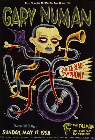 "Gary Numan Poster from Fillmore Auditorium on 17 May 98: 13"" x 19"""