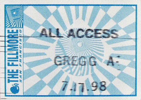 Gregg Allman Backstage Pass from Fillmore Auditorium on 17 Jul 98: Pass 1