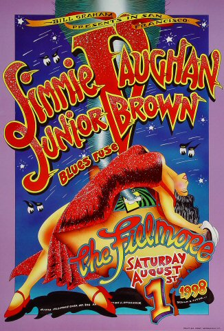 "Jimmie Vaughan Poster from Fillmore Auditorium on 01 Aug 98: 13"" x 19"""