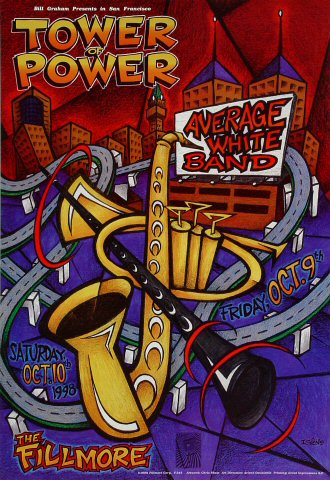 "Tower of Power Poster from Fillmore Auditorium on 09 Oct 98: 13"" x 19"""