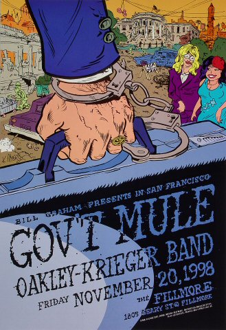 "Gov't Mule Poster from Fillmore Auditorium on 20 Nov 98: 13"" x 19"""