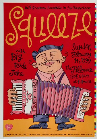 "Squeeze Proof from Fillmore Auditorium on 14 Feb 99: 14"" x 20"""