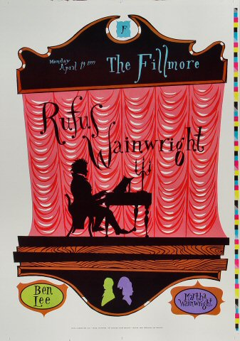 "Rufus Wainwright Proof from Fillmore Auditorium on 19 Apr 99: 14"" x 20"""