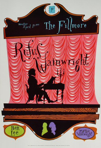 "Rufus Wainwright Poster from Fillmore Auditorium on 19 Apr 99: 13"" x 19"""