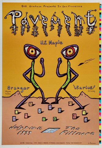 "Pavement Proof from Fillmore Auditorium on 09 Jul 99: 14"" x 20"""