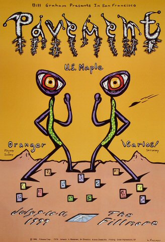 "Pavement Poster from Fillmore Auditorium on 09 Jul 99: 13"" x 19"""