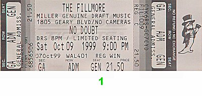 No Doubt 1990s Ticket from Fillmore Auditorium on 09 Oct 99: Ticket One