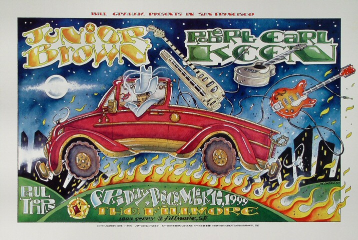 "Junior Brown Poster from Fillmore Auditorium on 10 Dec 99: 13"" x 19"""