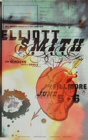 "Elliott Smith Poster from Fillmore Auditorium on 05 Jun 00: 13"" x 19"""