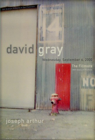 "David Gray Poster from Fillmore Auditorium on 06 Sep 00: 13"" x 19"""