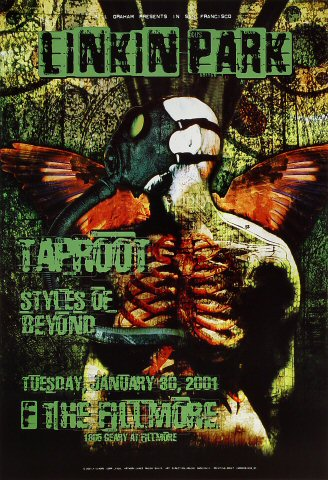 "Linkin Park Poster from Fillmore Auditorium on 30 Jan 01: 13"" x 19"""