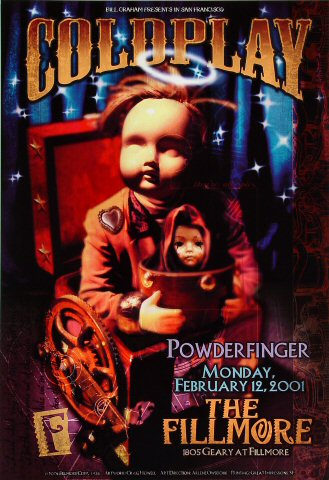 """Coldplay Poster from Fillmore Auditorium on 12 Feb 01: 13"""" x 19"""""""