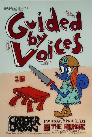 """Guided By Voices Poster from Fillmore Auditorium on 02 Apr 01: 13"""" x 19"""""""