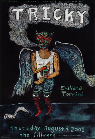 """Tricky Poster from Fillmore Auditorium on 09 Aug 01: 13"""" x 19"""""""