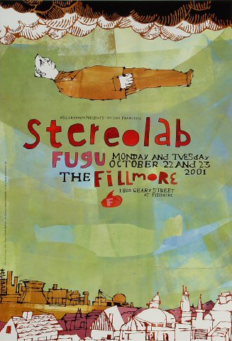 "Stereolab Poster from Fillmore Auditorium on 22 Oct 01: 13"" x 19"""