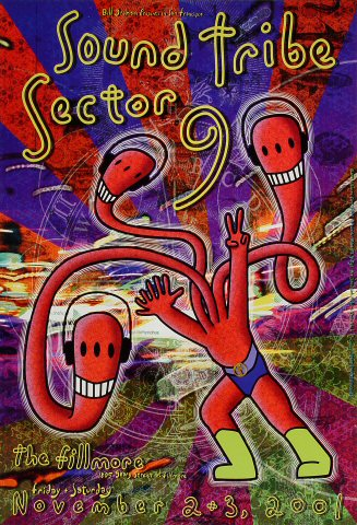 """Sound Tribe Sector 9 Poster from Fillmore Auditorium on 02 Nov 01: 13"""" x 19"""""""
