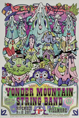 "Yonder Mountain String Band Poster from Fillmore Auditorium on 09 Nov 01: 13"" x 19"""