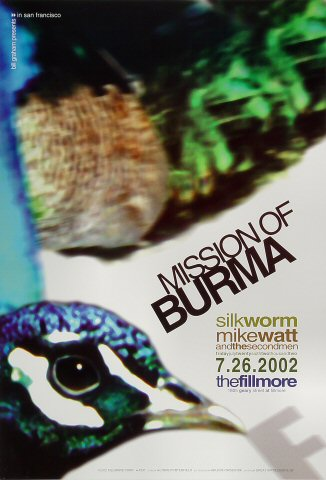 "Mission of Burma Poster from Fillmore Auditorium on 26 Jul 02: 13"" x 19"""