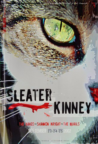 "Sleater-Kinney Poster from Fillmore Auditorium on 23 Sep 02: 13"" x 19"""