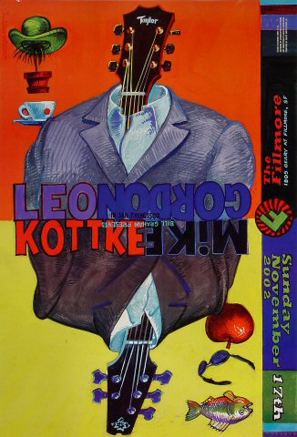 "Leo Kottke Poster from Fillmore Auditorium on 17 Nov 02: 13"" x 19"""