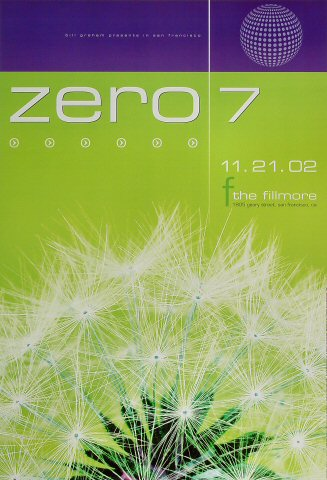 "Zero 7 Poster from Fillmore Auditorium on 21 Nov 02: 13"" x 19"""