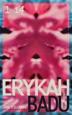 "Erykah Badu Poster from Fillmore Auditorium on 14 Jan 03: 13"" x 19"""