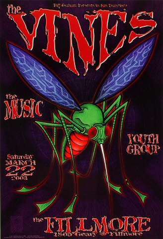 "The Vines Poster from Fillmore Auditorium on 22 Mar 03: 13"" x 19"""