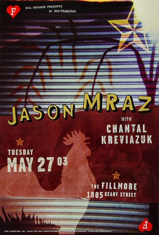 "Jason Mraz Poster from Fillmore Auditorium on 27 May 03: 13"" x 19"""