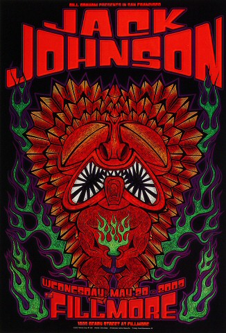 "Jack Johnson Poster from Fillmore Auditorium on 28 May 03: 13"" x 19"""